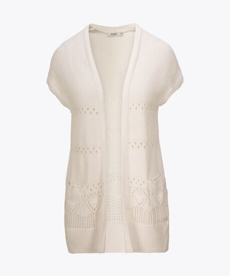 Pointelle Extended Sleeve Open Cardigan, True White, hi-res