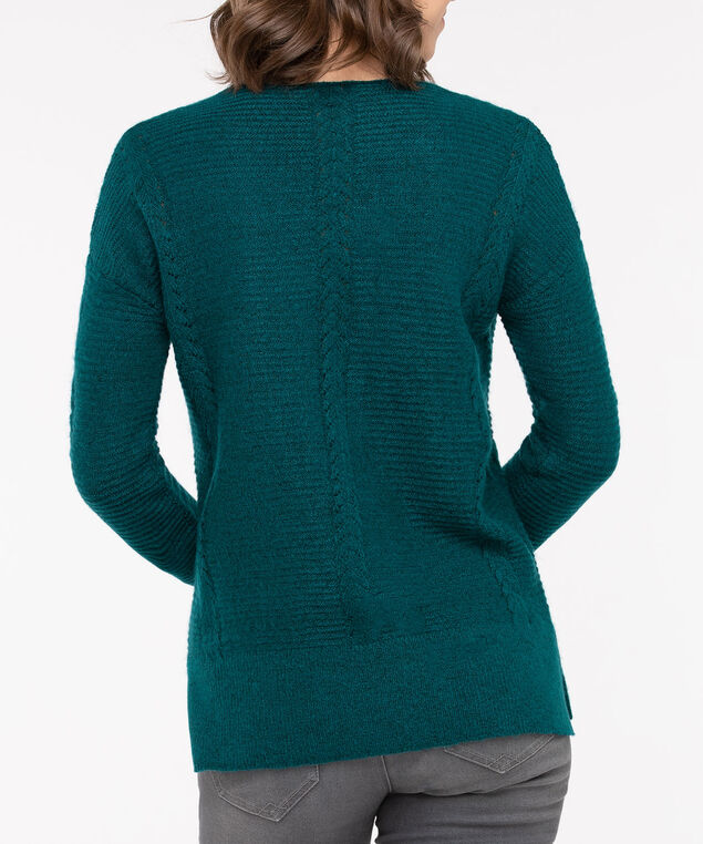 Pointelle V-Neck Pullover, Teal, hi-res
