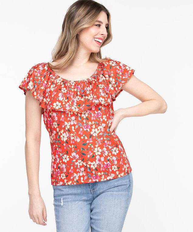 Off Shoulder Ruffle Top, Poppy Red Floral