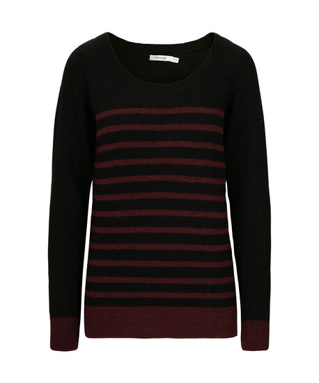 Striped Plush Pullover Sweater, Black/Wine, hi-res