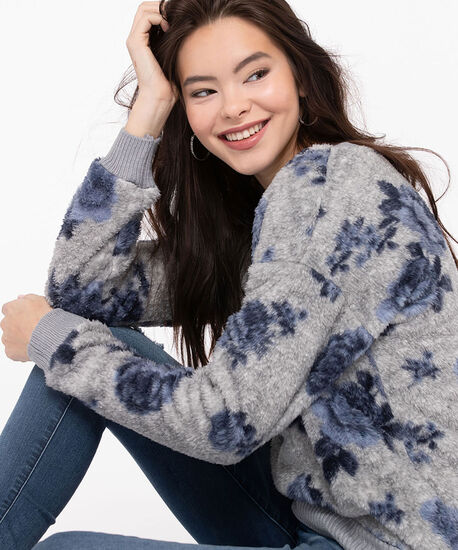 Faux Sherpa Soft Touch Top, Light Grey/Indigo, hi-res