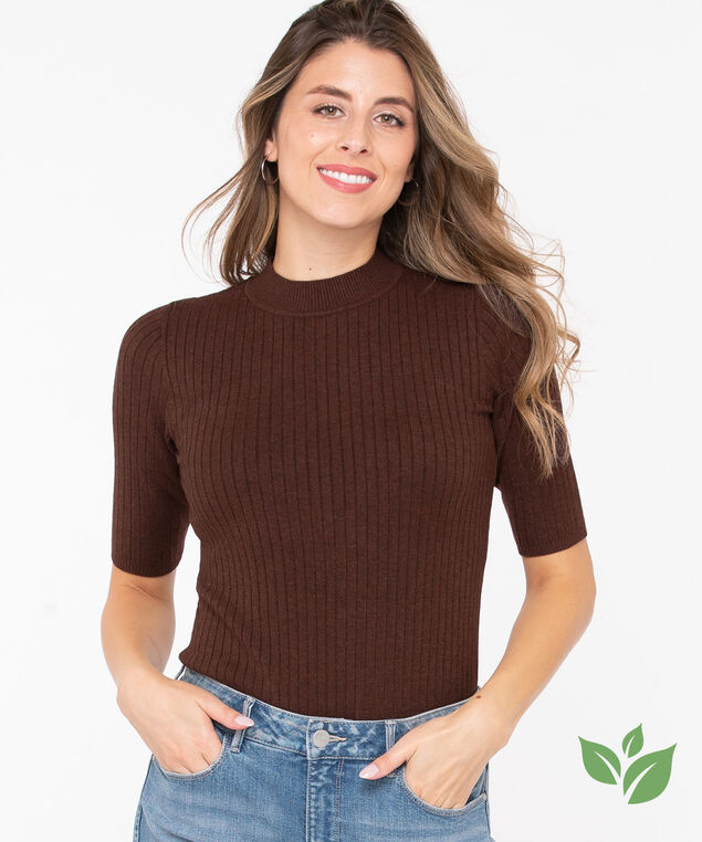 EcoVero™ Mock Neck Sweater, Toffee