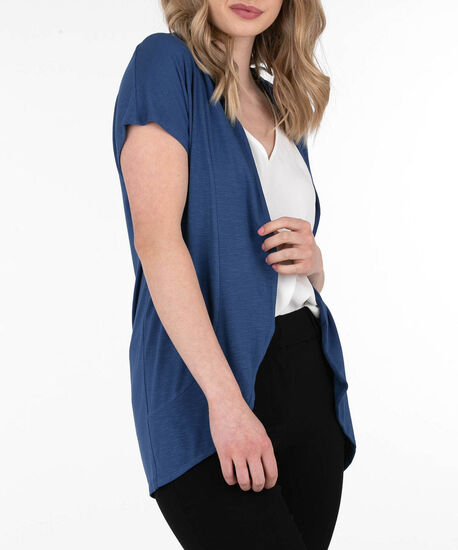 Short Sleeve Rounded Open Cardigan, Cadet Blue, hi-res