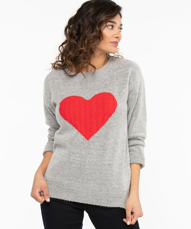 Cable Knit Heart Sweater, Light Grey/Red