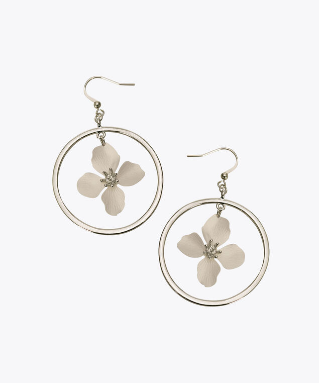 Flower Drop Hoop Earring, Rhodium/True White, hi-res