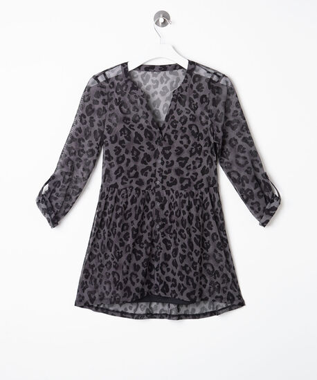 Leopard Print Mesh Tunic, Black/Grey, hi-res
