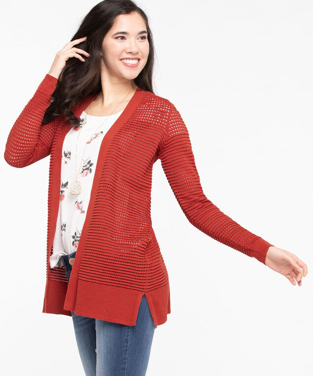 Pointelle Open Cardigan, Chili, hi-res