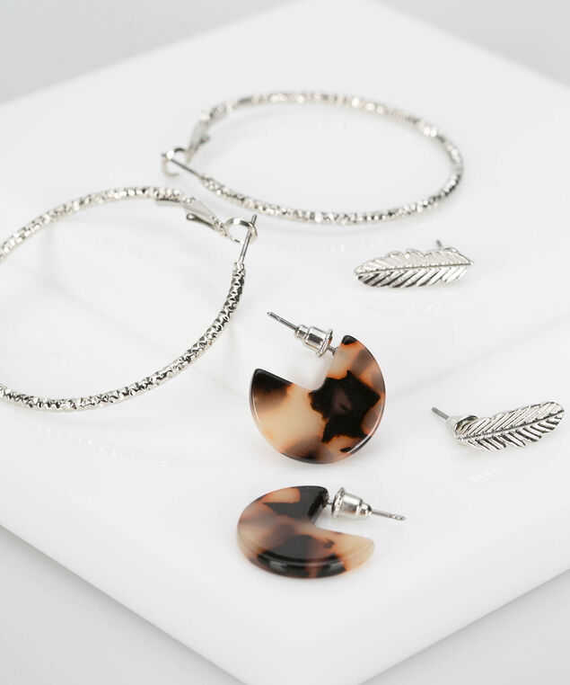 Earring Trio Set, Rhodium/Almond/Black, hi-res