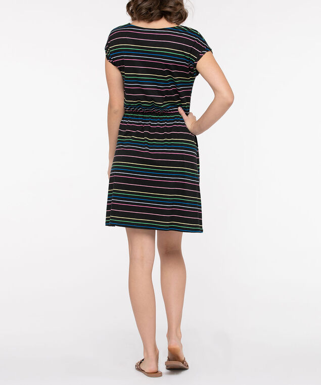 Rainbow Stripe Scoop Neck Dress, Black, hi-res