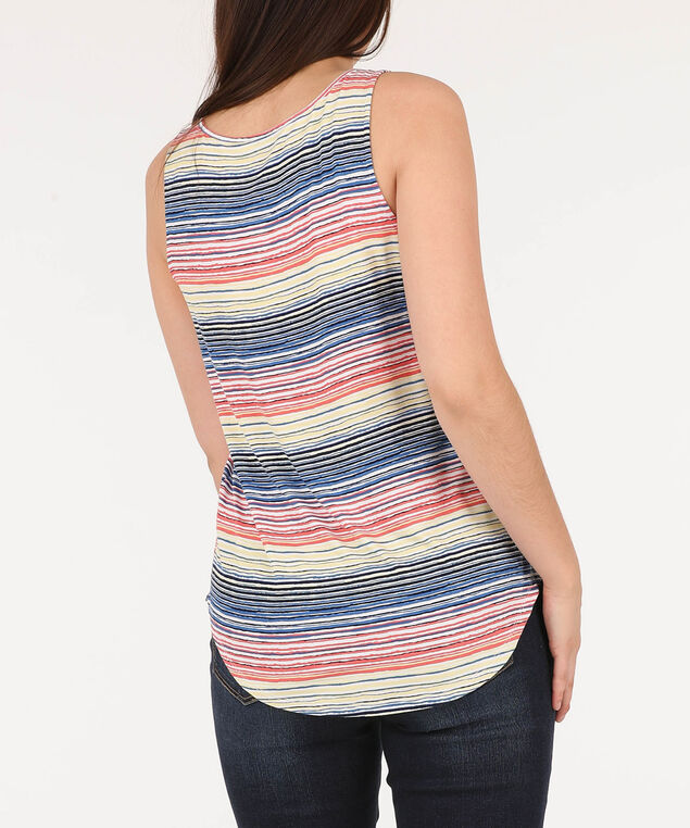 Sleeveless Button Loop Top, White/Tangerine/Yellow/Blue, hi-res
