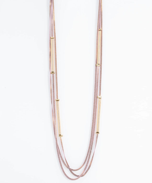 Painted Chain & Stationed Bar Necklace, Gold/Soft Pink, hi-res