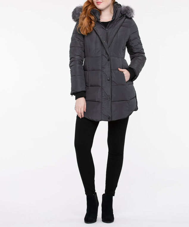 Faux Fur & Leather Trim Puffer Coat, Charcoal, hi-res