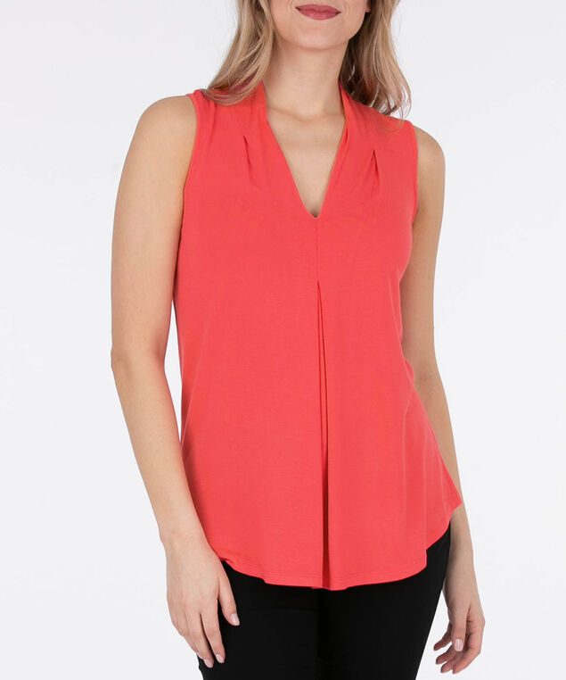 Sleeveless Pleat Front V-Neck Top, Watermelon, hi-res