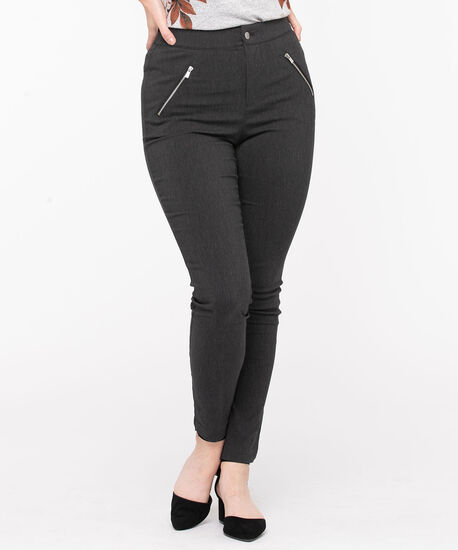 Microtwill Button Front Skinny Leg, Charcoal, hi-res