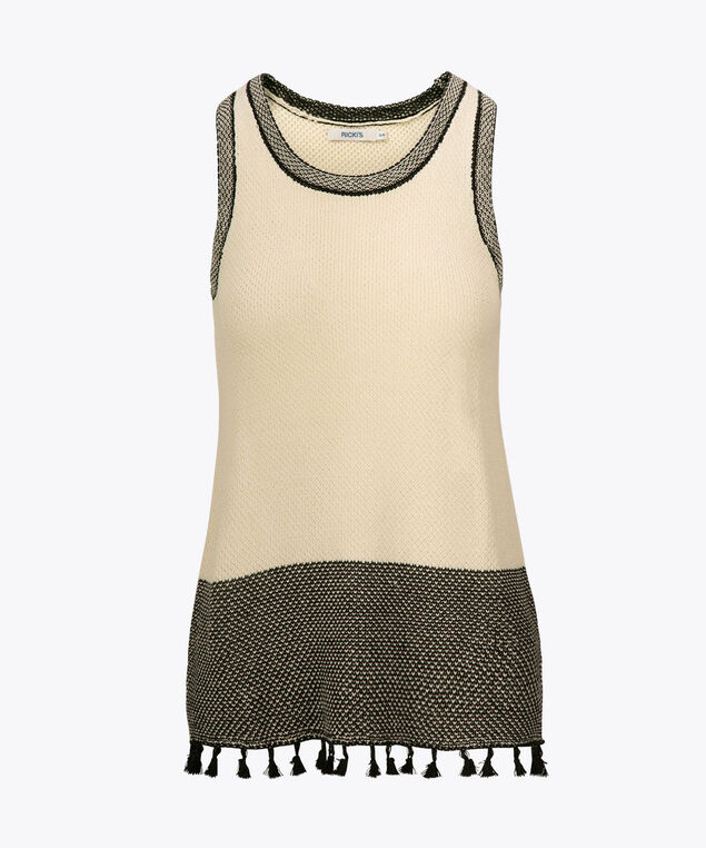 Tassel Trim Sweater Vest, Sand/Black, hi-res