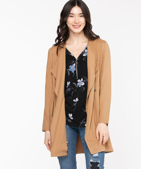 Long Sleeve Drape Front Jacket, Burro, hi-res