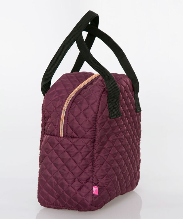 Quilted Foodie Lunch Tote, Black Cherry/Black, hi-res
