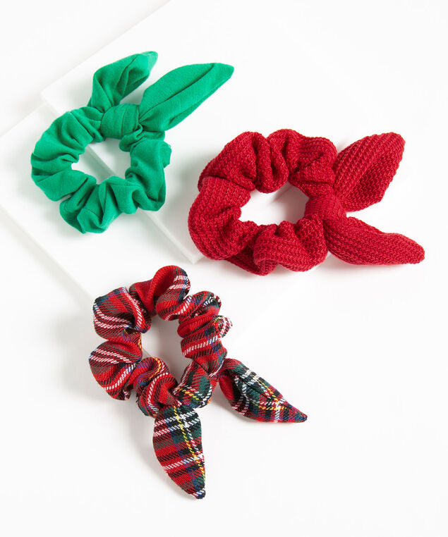 Festive Scrunchie 3-Pack, Red/Green/Ivory, hi-res