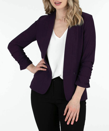 Ruched Sleeve Easy Stretch Blazer, Deep Purple, hi-res