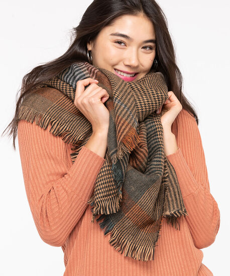 Plaid Blanket Scarf, Toffee/Pumpkin/Black, hi-res
