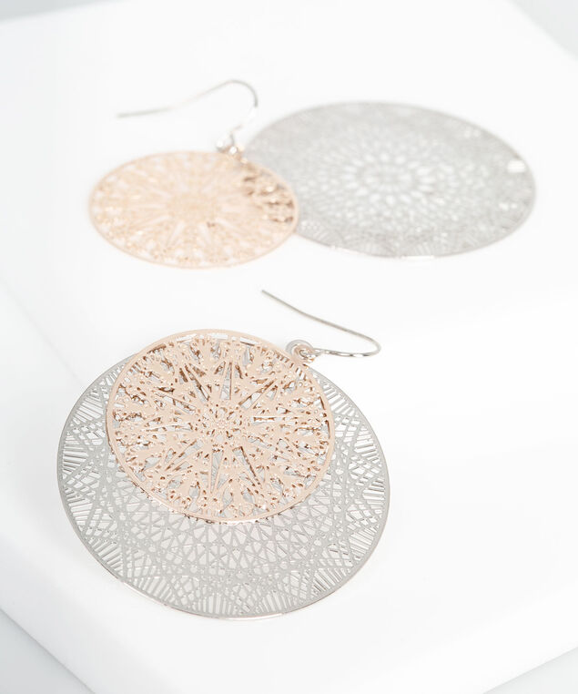 Mixed Filigree Disc Earring, Rhodium/Rose Gold, hi-res
