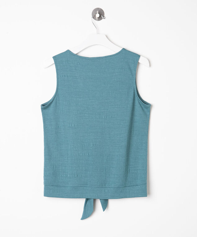 Sleeveless Tie Waist V-Neck Top, Turquoise, hi-res