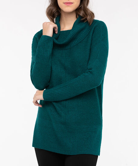 Ribbed Cowl Neck Sweater, Teal, hi-res