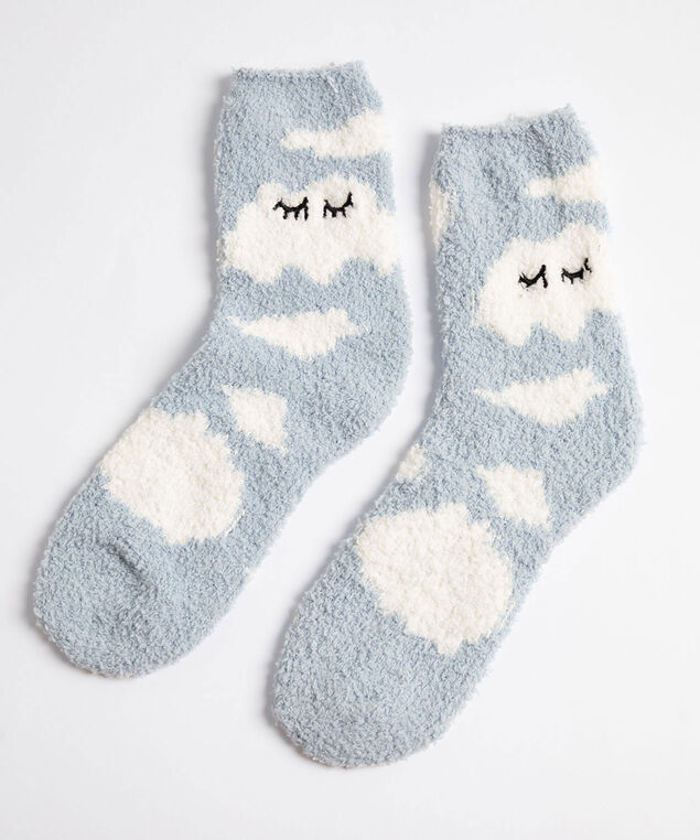 Cute Cloud Plush Socks, Blue/White