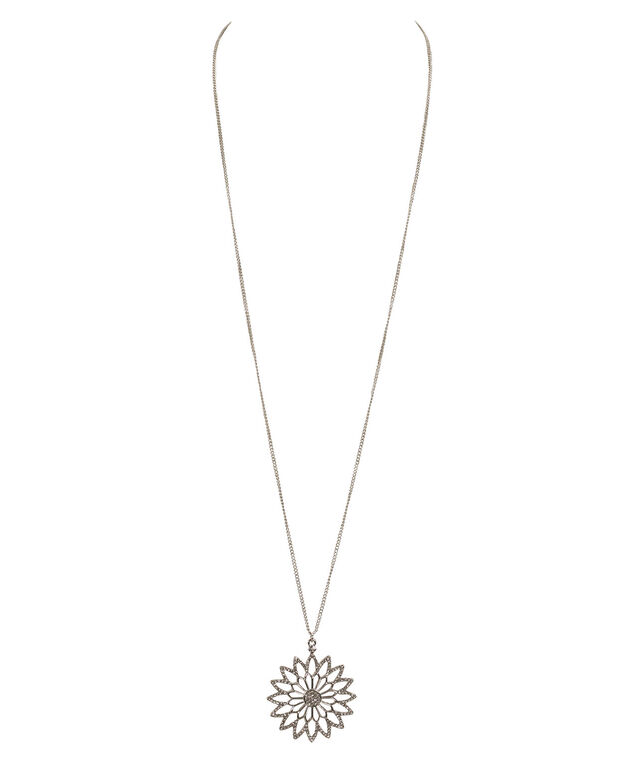 Crystal Flower Pendant Necklace, Clear/Rhodium, hi-res