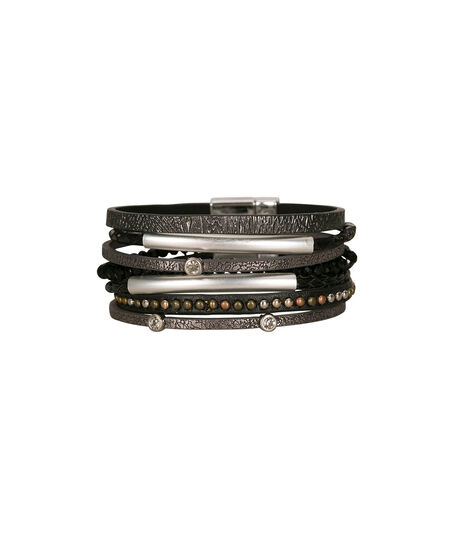 Mixed Media Wrap Bracelet, Black/Rhodium, hi-res
