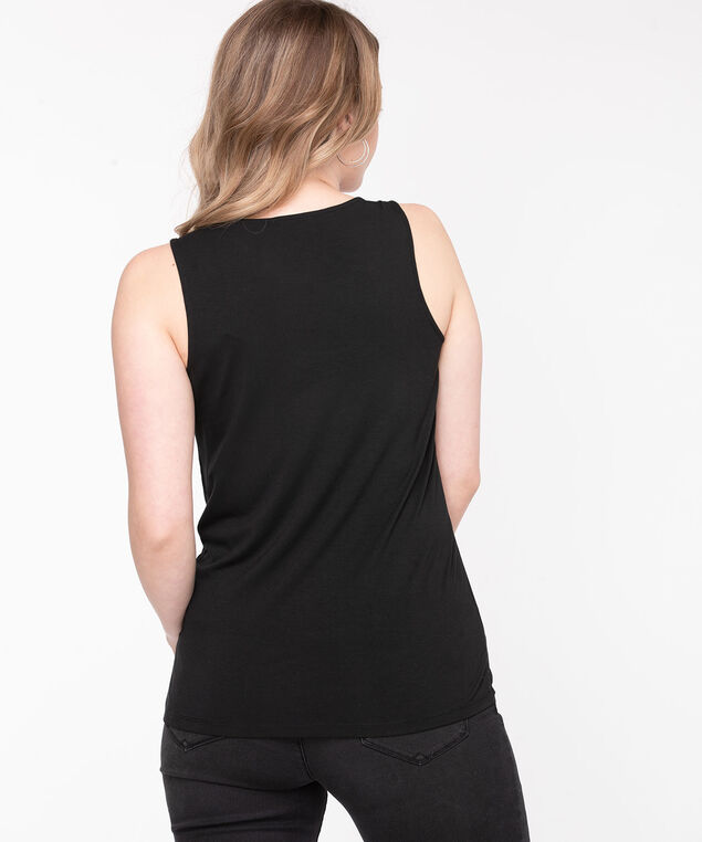 Black Sleeveless Mixed Media Top, Black