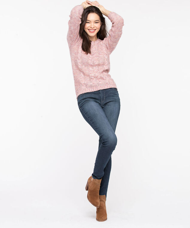 Scoop Neck Cable Knit Sweater, Rose Smoke Mix