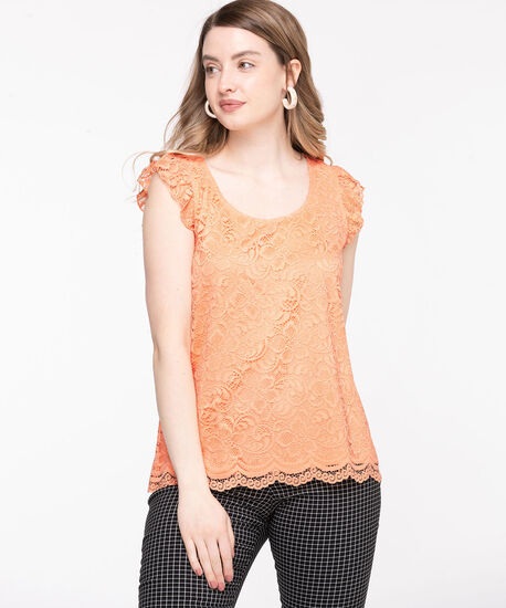 Lace Ruffle Sleeve Top, Coral Reef, hi-res
