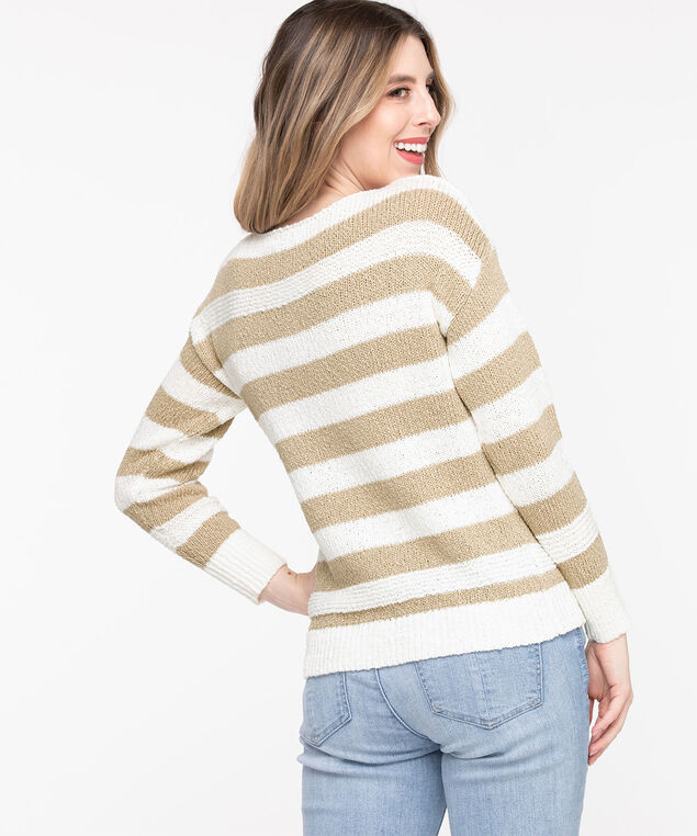 Stripe Slub Knit Pullover Sweater, Cement/Whisper White