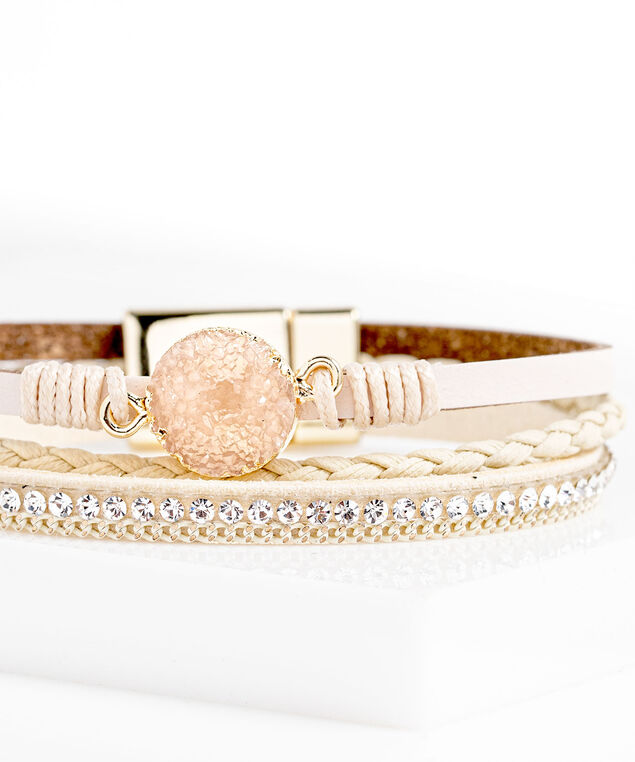 Beige Multistrand Faux Leather Bracelet, Beige/Blush/Gold