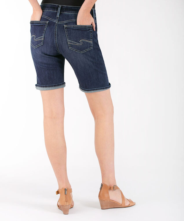 Silver Jeans Co. Suki Cuffed Bermuda, Dark Wash, hi-res