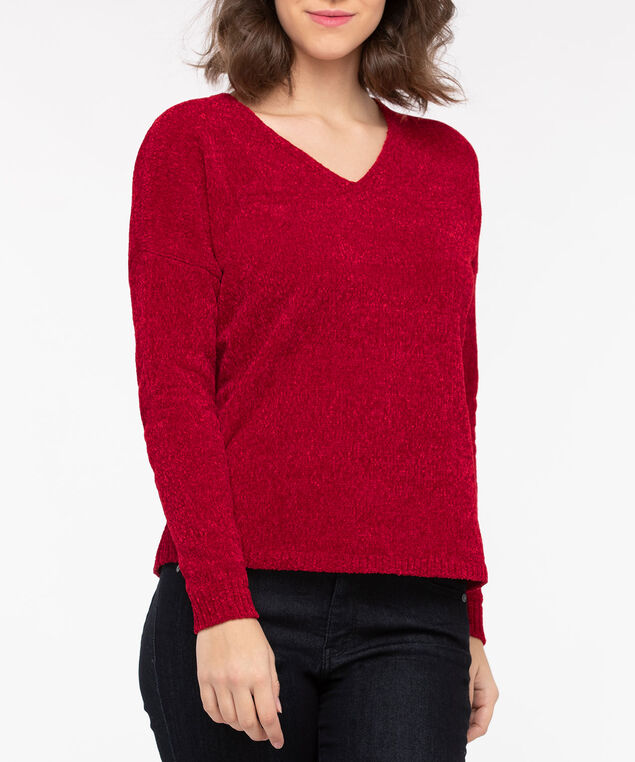 Cozy Chenille V-Neck Sweater, Crimson, hi-res