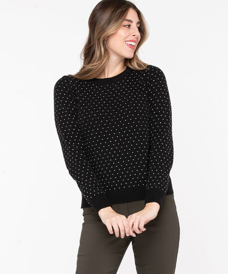 Heart Stitch Scoop Neck Sweater, Black/Pristine, hi-res