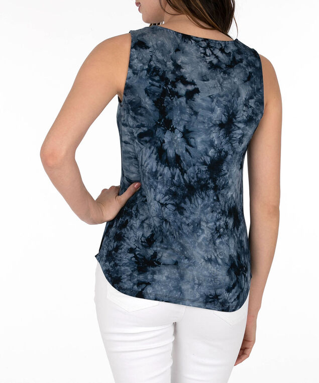 Sleeveless Tie-Dye Cross Neck Top, Indigo, hi-res