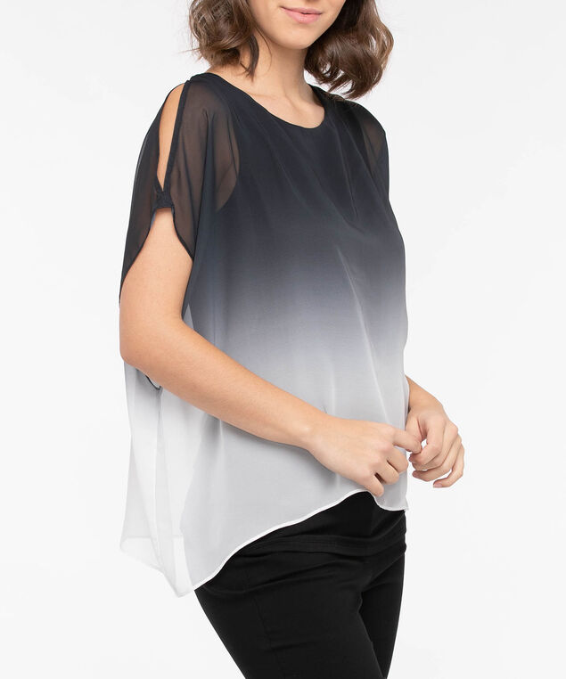 Ombre Cold Shoulder Capelet Overlay Top, Black/Pearl, hi-res