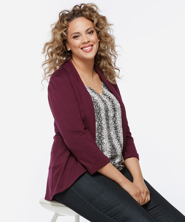 Shawl Collar Knit Cover Up, Fig, hi-res