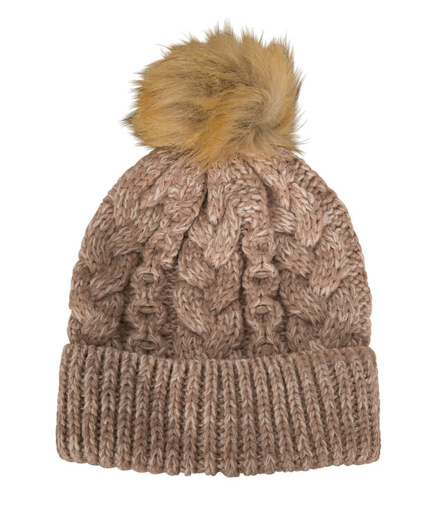 Faux Fur Pom Knitted Toque, Blush, hi-res