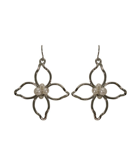Open Wire Flower Earring, White/Rhodium, hi-res