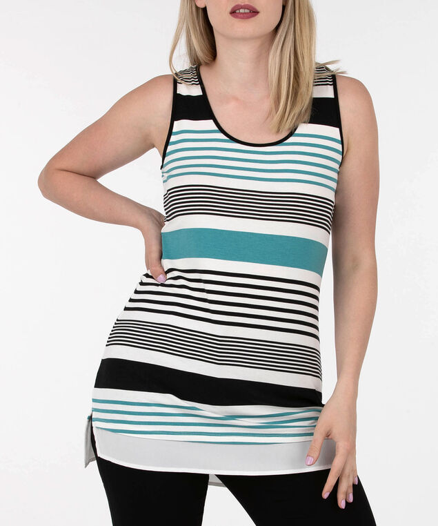 Striped Sleeveless Fooler Top, Black/Rain/Pearl, hi-res