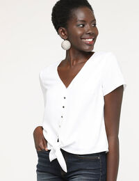 Short Sleeve Tie Front Blouse