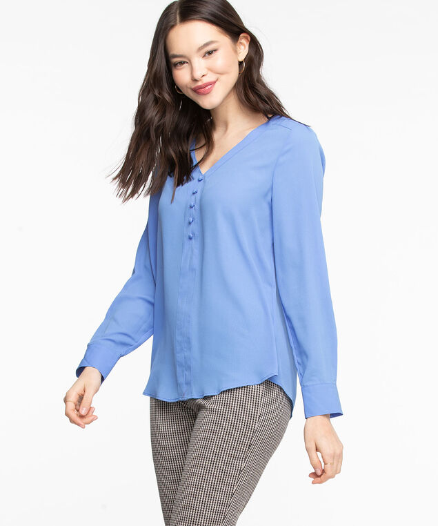 Roll Tab Sleeve V-Neck Blouse, Bijou Blue