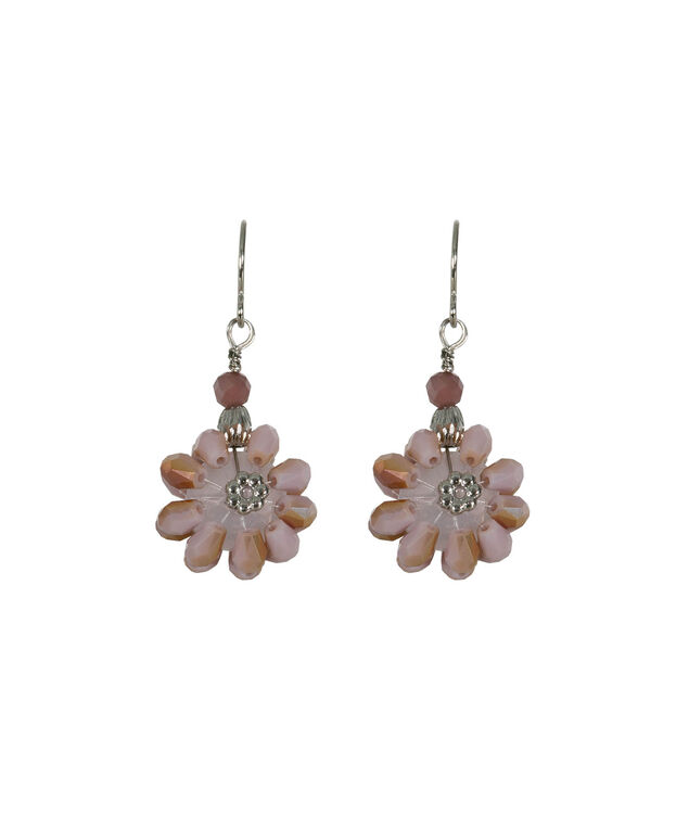 Beaded Flower Drop Earring, Iced Violet/Rhodium, hi-res