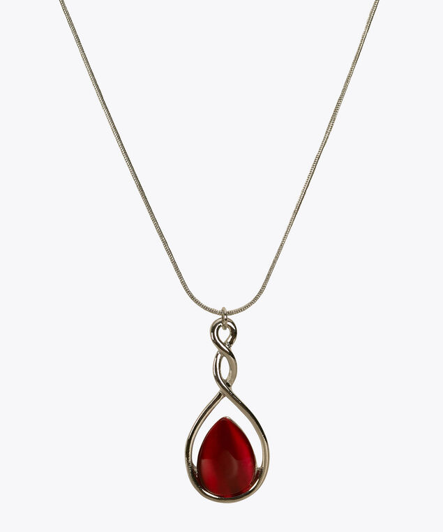 Swirl Framed Cateye Stone Necklace, Sangria/Rhodium, hi-res