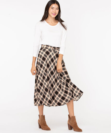 Plaid Belted Circle Skirt, Black/Camel/Ivory/Rust, hi-res