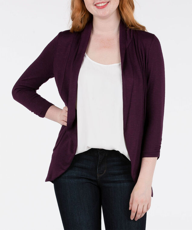 Shawl Collar Cardigan, Plum, hi-res